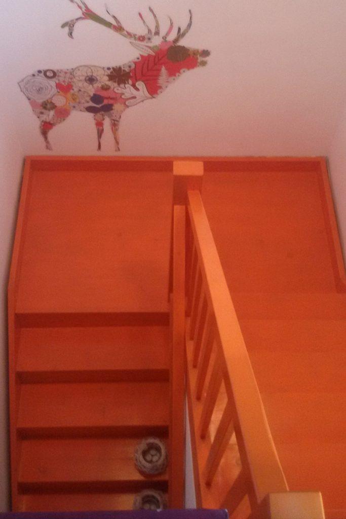 Bystrý smrkové schody do U realizace oranžový lak shora